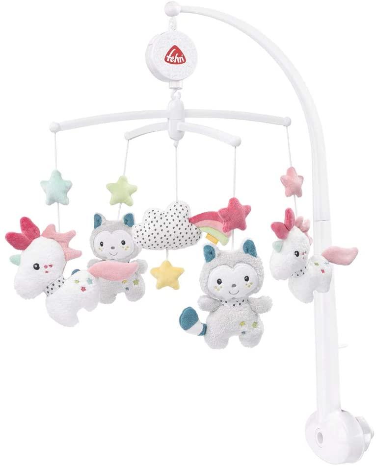 Fehn 057027 Aiko & Yuki - Móvil musical con figuras para observar, sonar y asombrar, para fijar a la cama de bebés de 0-5 meses, multicolor