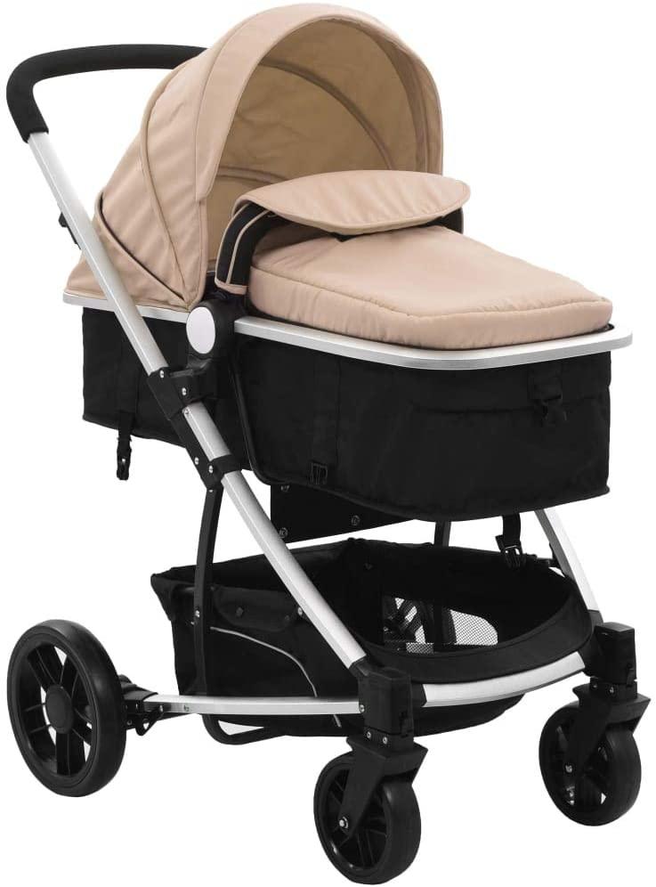 Festnight Cochecito de Bebé de Aluminio Cochecito Asiento para Bebé Plegable Silla de Paseo 2 en 1 Aluminio Gris Taupe y Negro