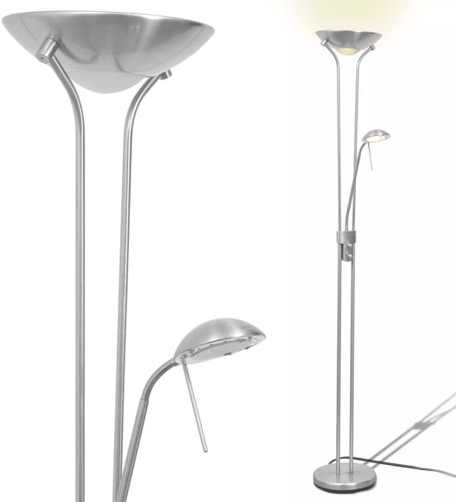 Festnight Lámpara de Pie con 1 Regulador Doble de Intensidad de Acero 180x25cm(Al x Diam.) 220-240V [Clase de eficiencia energética A]