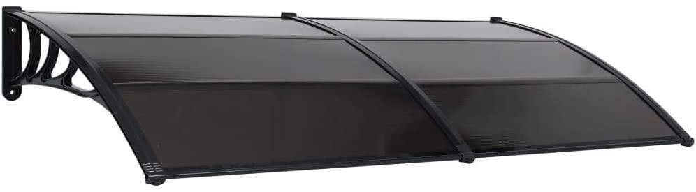 Festnight Marquesina para Puerta De Plástico Negro 200X100 Cm, Techado para Puerta, Marquesina para Puertas Y Ventanas Exterior Toldo para Terrazas