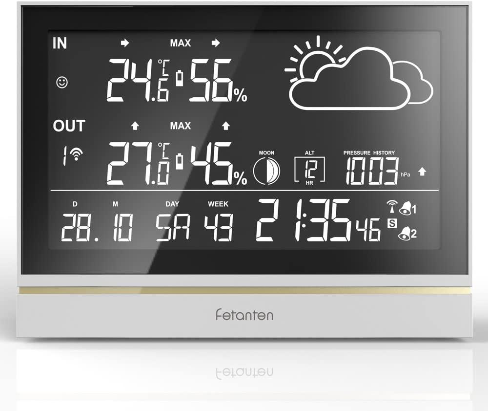Fetanten Estación Meteorológica Inalámbrica, Reloj Despertador Digital Higrometro con Pantalla LCD de 7.5''/DCF Signal/DST/3 Sensores Exteriores   Control de Radio Despertador Estación Meteorológica
