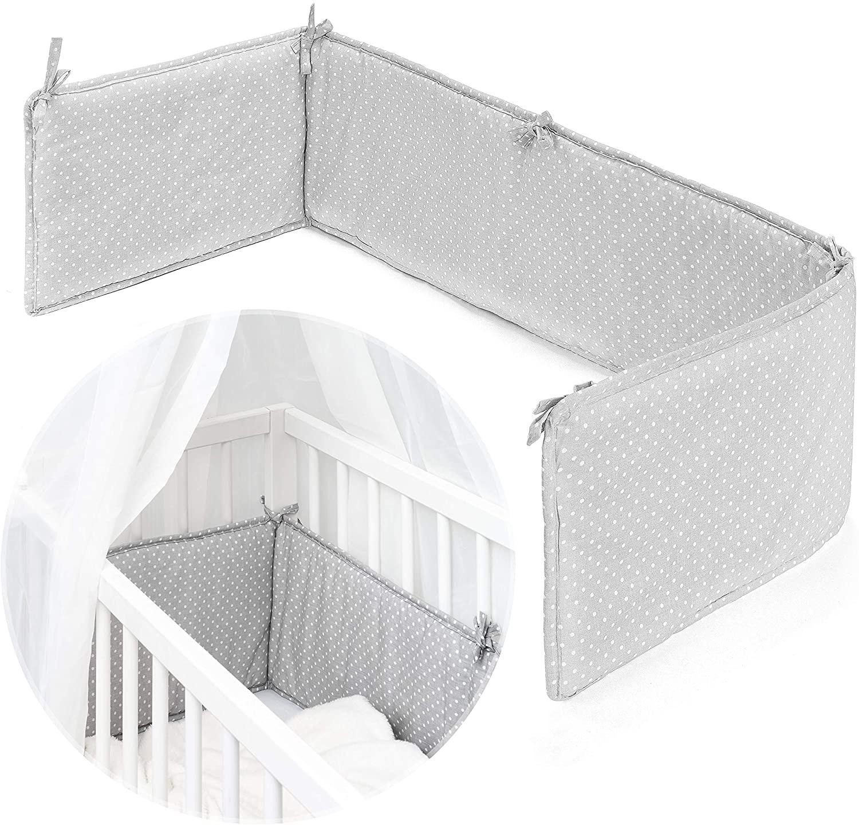 Fillikid Protector barrotes para minicuna de colecho/Chichonera para cuna adosada de bebé con superficie de 90x40 cm, ideal para Vario y Cocon - Lunares Gris Blanco