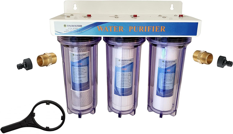 """Finerfilters 3 etapas 10"""" HMA Heavy Metal Reduction Sistema de Filtro de Agua con Conexiones de 1/4"""""""