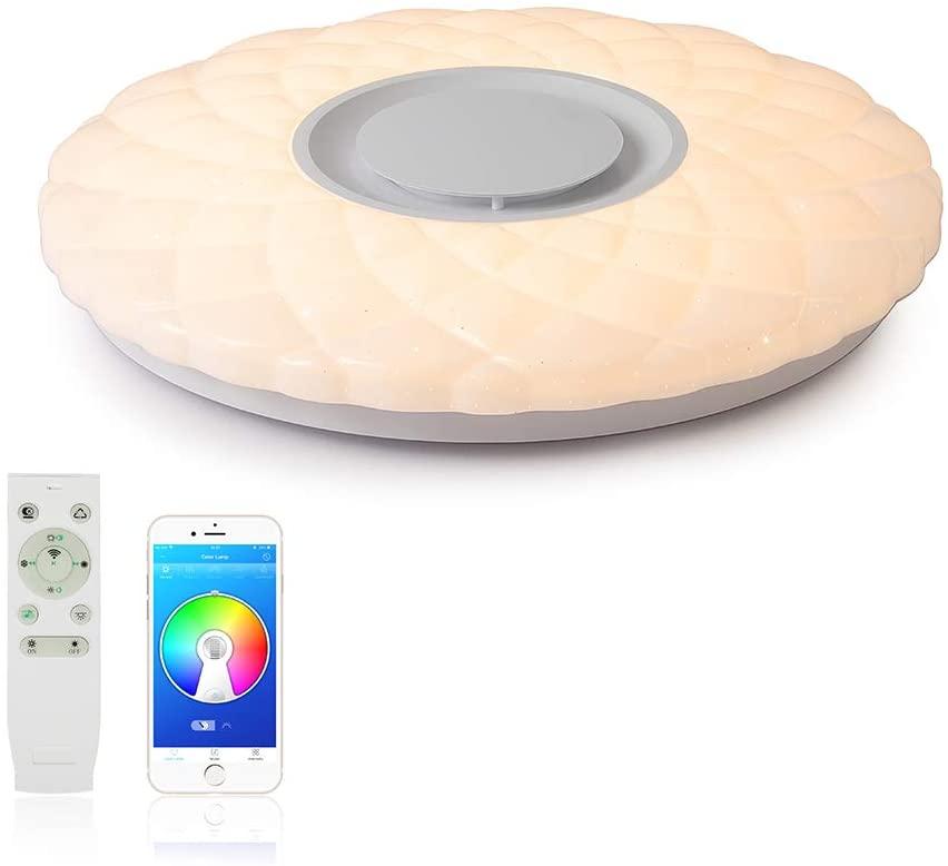 FIREBIRD Luces de techo modernas de música LED con altavoz Bluetooth, 52W 500mm,3000-6500K + RGB ajustable, 4300lm,modo de luces nocturnas, aplicación y control remoto 2.4G,lámpara dormitorio [Clase de eficiencia energética A+++]