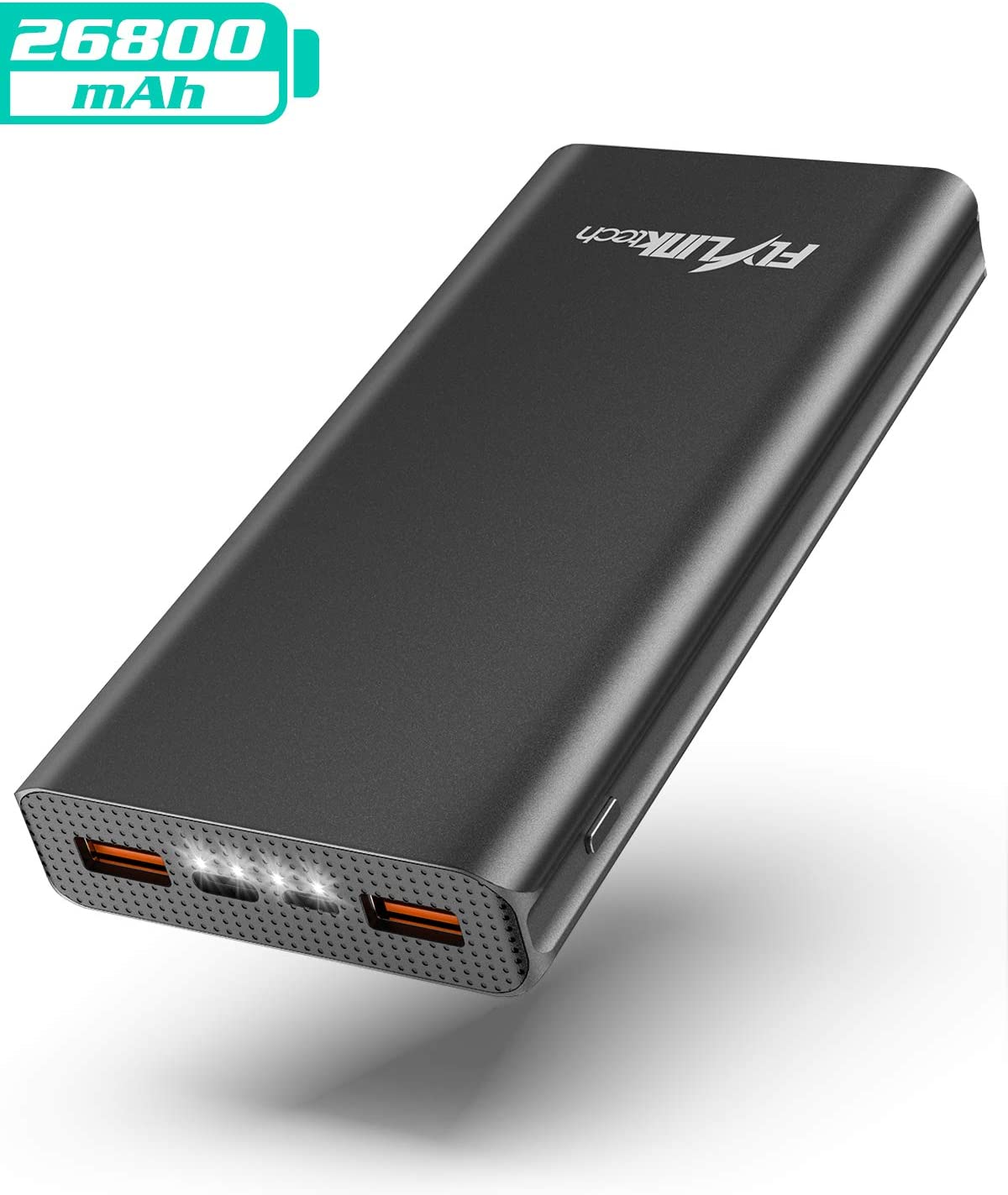 FLYLINKTECH Batería Externa 26800mAh QC 3.0 Power Bank Cargador Móvil Portátil con USB-C PD, Cargador Portátil de Alta Capacidad de Carga Rápida para iPhone/iPad/MacBook/Samsung Galaxy/Huawei -Negro