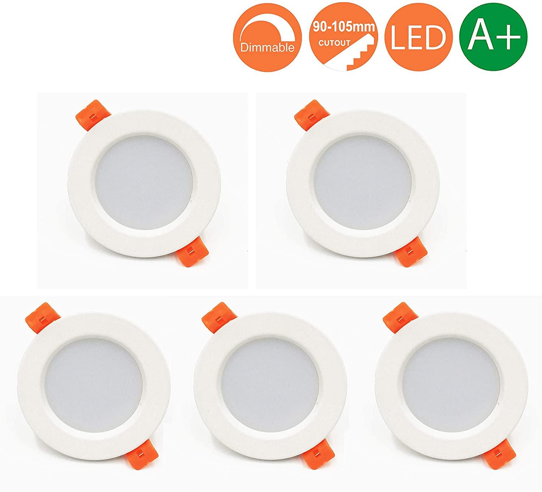 Foco Empotrable Led Techo,7W,Blanco Cálido 3000K, Regulable,550 Lumens,IP44,led Luz de Techo para Hogar, Oficina, Iluminación Comercia, 5 piezas [Clase de eficiencia energética A++]