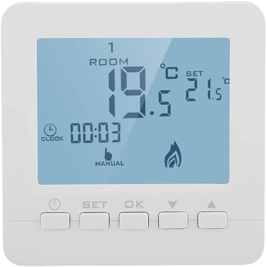 FTVOGUE Pantalla LCD Inteligente Termostato de Calefacción Touchscreen Regulador de Temperatura Ambiente Programable Bajo Casa Herramienta de Temperatura Doméstica