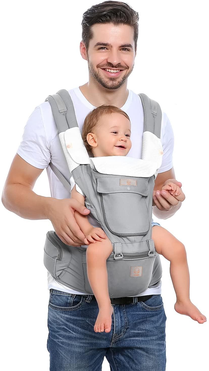 Windsleeping Portabeb/és con capucha para todas las estaciones,la asiento de cadera superficie del es antideslizante con silicona apto para beb/és Negro ni/ños peque/ños y reci/én nacidos