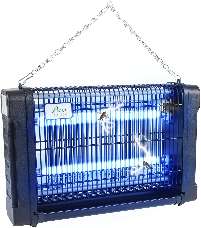 Gardigo Lampara Matamoscas Electrico Luz Ultravioleta UV 16 W Anti-Polillas, Insectos, Zancudos, Moscas y mas Lampara Trampa Anti-Mosquitos Bandeja para Recoger Insectos Cadena de Suspensión