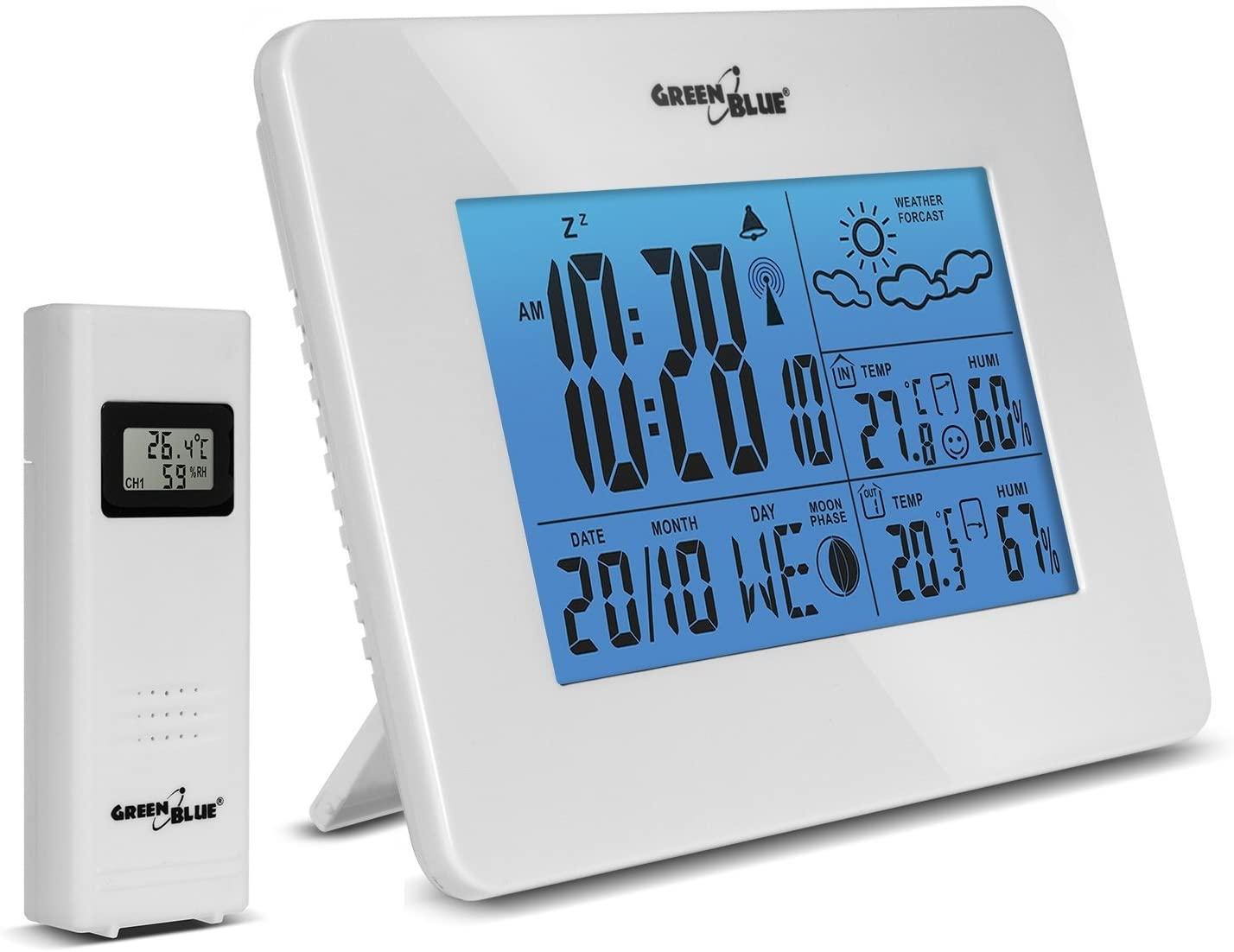 GB146 - Estación meteorológica inalámbrica, Sensor Externo Pantalla LCD DCF Fases Lunares, Disponible en Dos Colores: Blanco o Negro. (Blanco)