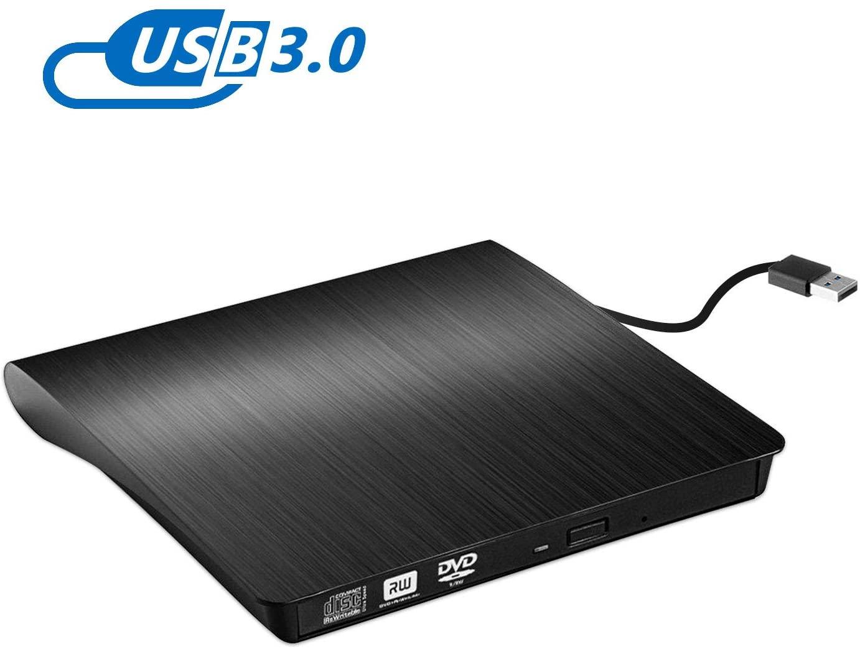 Grabadora CD / DVD Externa Usb 3.0, Rodzon Unidades de DVD Externa Portátil CD / DVD /-RW / ROM Estable con Lector / Quemador / Re - Quemador para Win 10 / 8 / 7 / XP / Vista / Linux / Mac OS