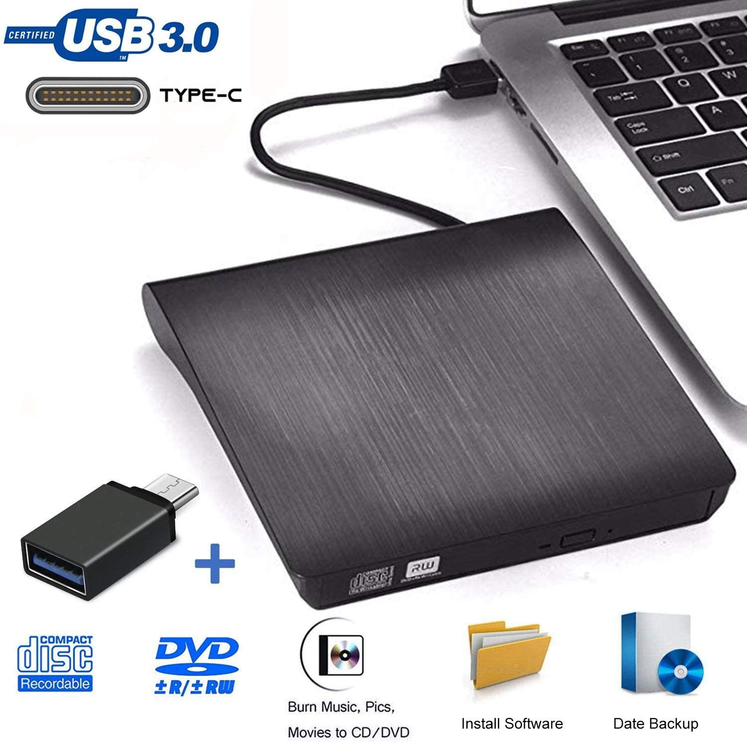 Grabadora DVD Externa, iAmotus Unidades CD/DVD Externas USB 3.0 Lector Grabadora Y Tipo-c Grabadora Externa Ultra Slim Portátil para Windows 10 7/8 / Vista/XP/Mac OS/Macbook/Desktop Linux, Laptop