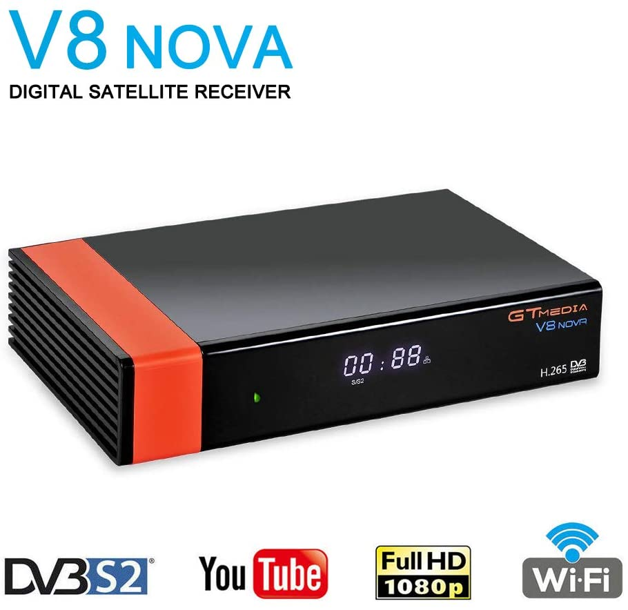 GT Media V8 Nova DVB-S2 Decodificador del Receptor de Satélite con Wi-Fi / HEVC H.265 / TV SCART / 1080p Full HD / Ethernet / FTA ,Soporte Web TV Youtube Ccam PVR Newcam PowerVu Dre Biss Clave