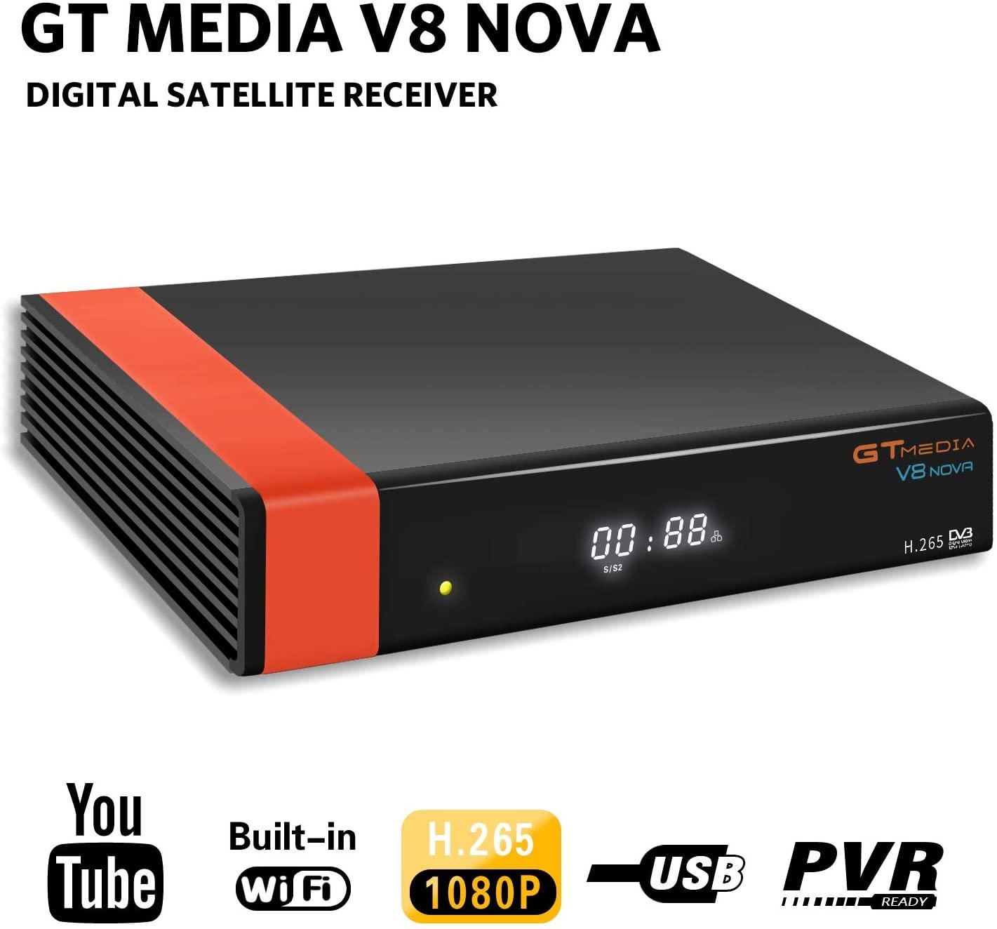 GT Media V8 Nova DVB-S2 Decodificador Satélite Receptor de TV Digital con Wi-Fi Incorporado / SCART / 1080P Full HD / FTA Soporte CC CAM, PVR Ready, Newcam, Youtube, PowerVu Dre Biss Clave por Aoxun