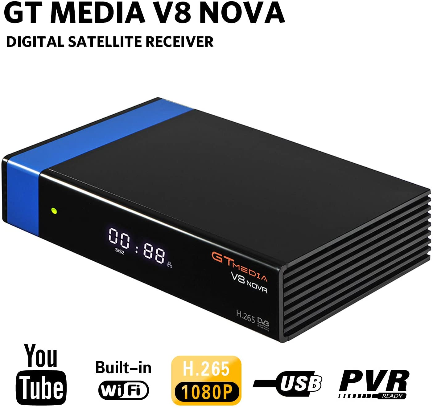 GTMEDIA V8 Nova DVB S2 TV ricevitore satellitare Satellite decoder Support 1080P Full HD PowerVu Biss chiave Newca CC CAM Set-Top Box, con Built-in WiFi - Azul