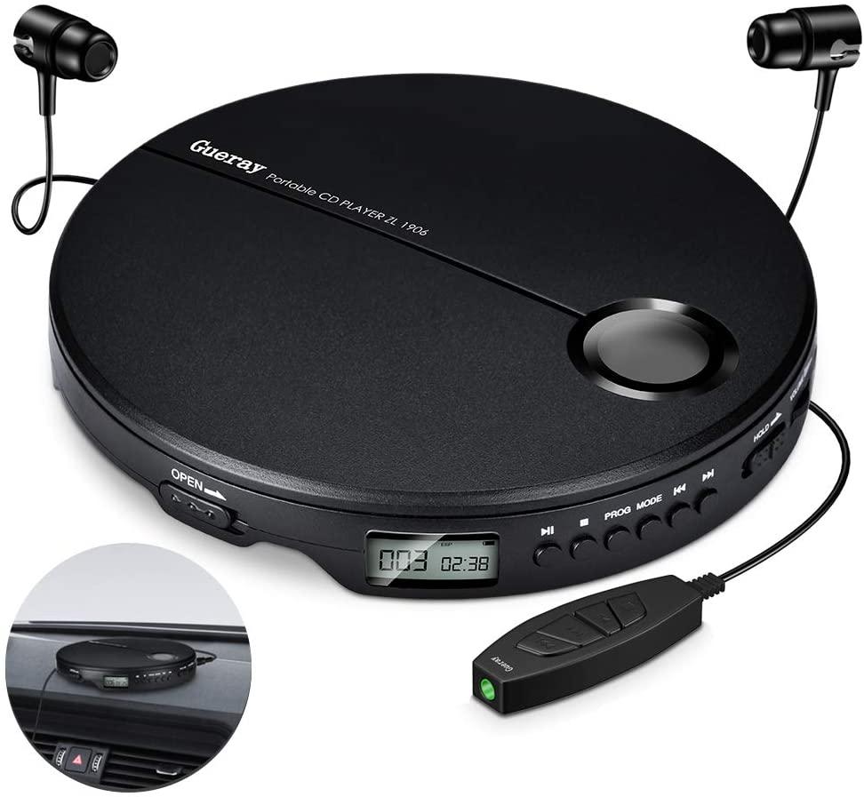 Gueray Reproductor de CD Portátil con Auricular Reproductor CD con Control en Línea para Auriculares de 3,5 mm Pantalla LCD Walkman