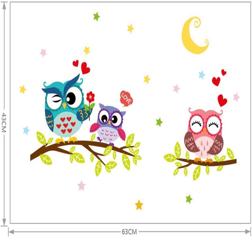 GVC Pegatinas de Pared 2020 extraíble Impermeable de Dibujos Animados Animal Owl Etiqueta de la Pared para Habitaciones de niños Papel Tapiz decoración del hogar