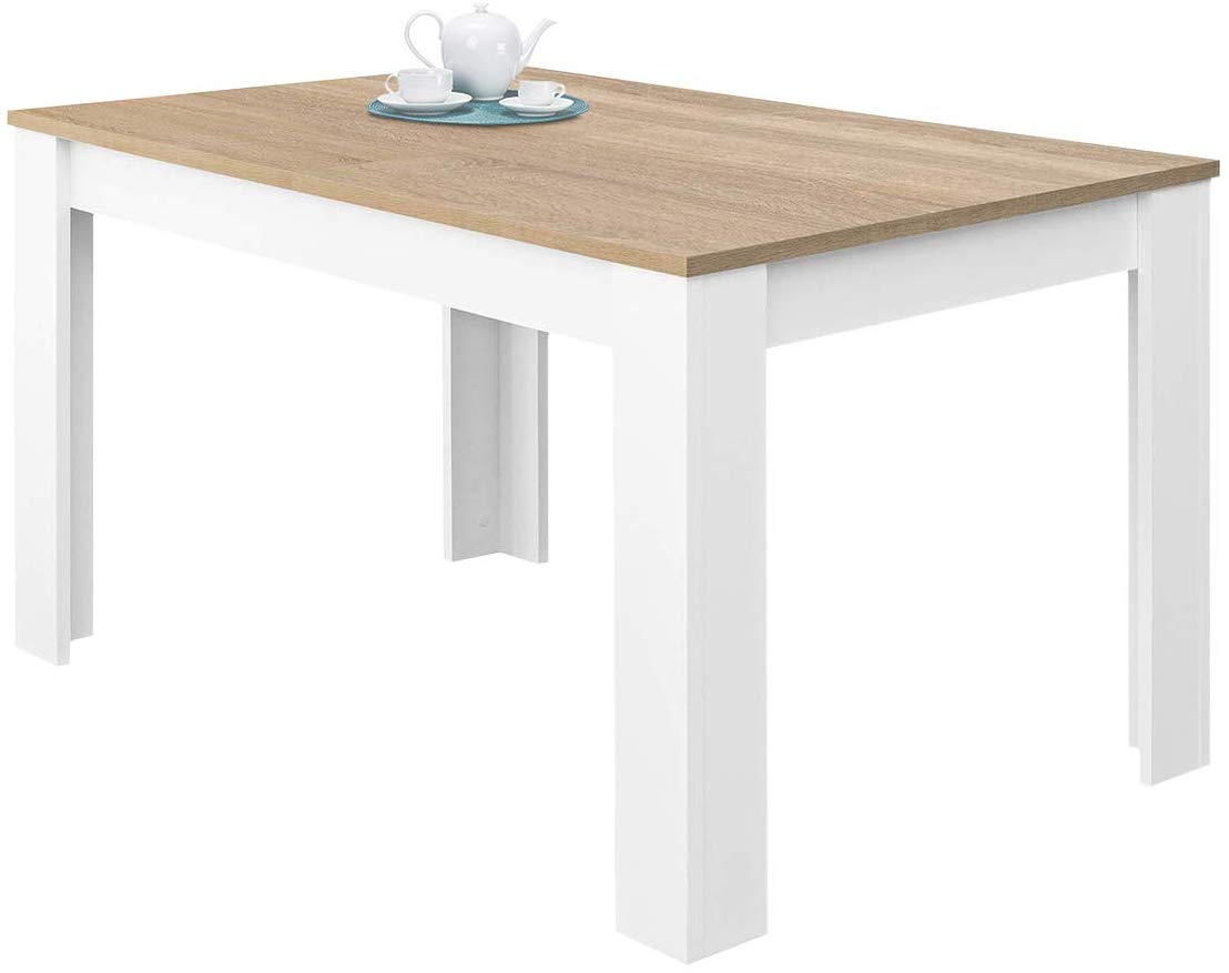 Habitdesign 0F4586A - Mesa de Comedor Extensible, Mesa salón o Cocina, Acabado en Color Blanco Artik y Roble Canadian, Modelo Kendra, Medidas: 140-190 cm (Largo) x 90 cm (Ancho) x 78 cm (Alto)