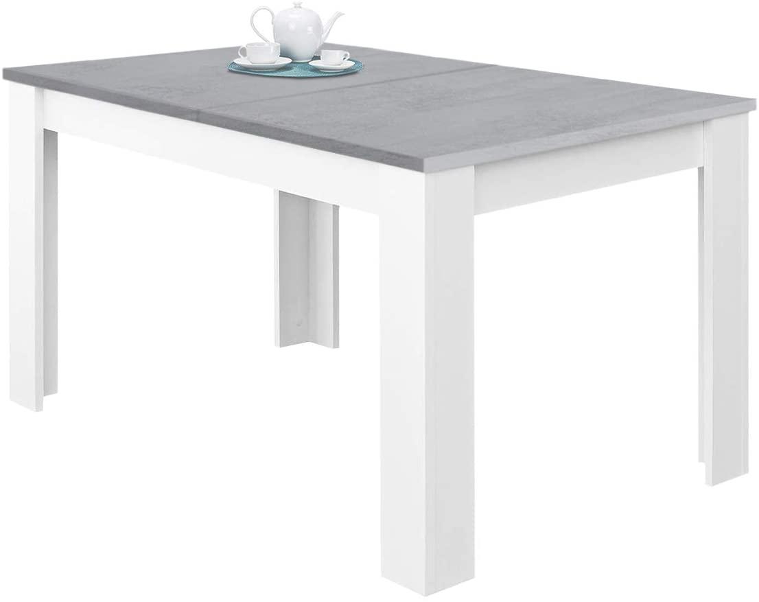 Habitdesign 0L4586A - Mesa de Comedor Extensible, Mesa salón o Cocina, Acabado en Color Blanco Artik y Gris Cemento, Modelo Kendra, Medidas: 140-190 cm (Largo) x 90 cm (Ancho) x 78 cm (Alto)