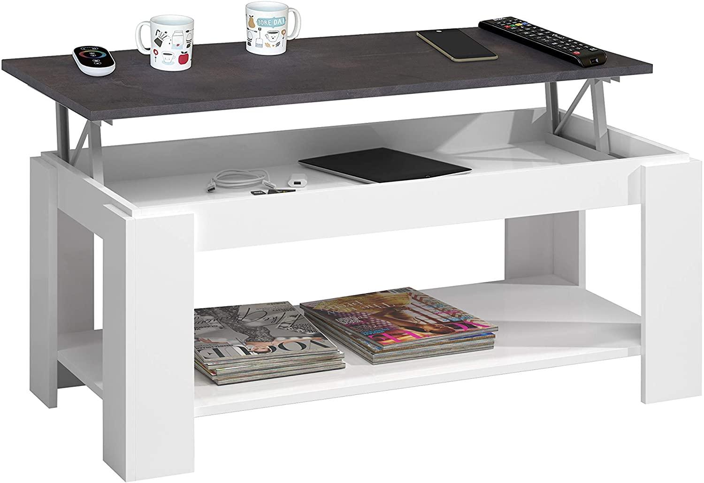Habitdesign 0X1639A - Mesa Centro con revistero, Mesa elevable, mesita Mueble Salon Comedor Acabado en Blanco Artik y Oxido, Medidas: 102 cm (Largo) x 43/54 cm (Alto) x 50 cm (Fondo)