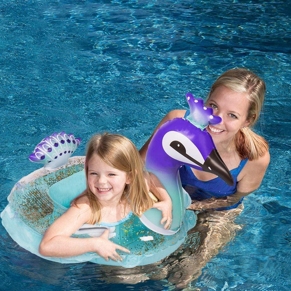 HANMUN Asiento para bebés Flotadores de natación para niños Pavo Real Piscina Inflable Tumbonas Bebé Diversión de Verano Juguetes para la Piscina al Aire Libre Balsa Flotante (Brillo Interior)