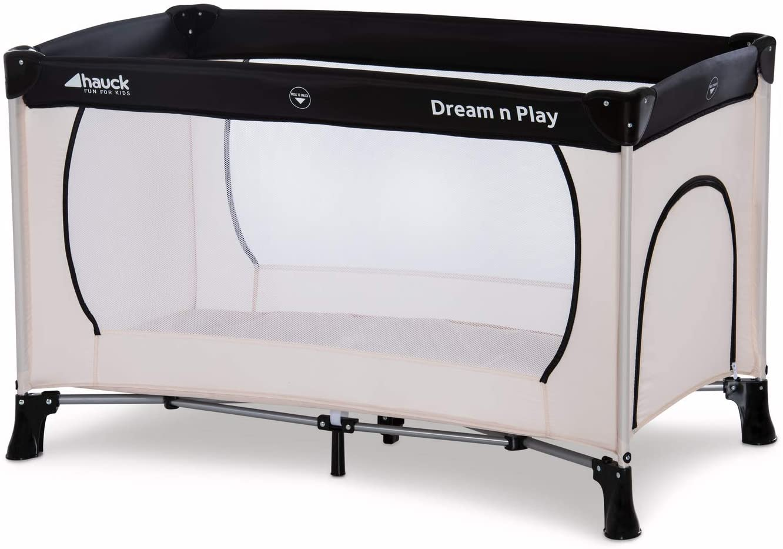 Hauck Dream'n Play Plus - Cuna de viaje 3 piezas, 120 x 60 cm, de 0 meses hasta 15 kg, con colchon, bolsa de transporte, apertura lateral, plegable, ligera y estable, beige