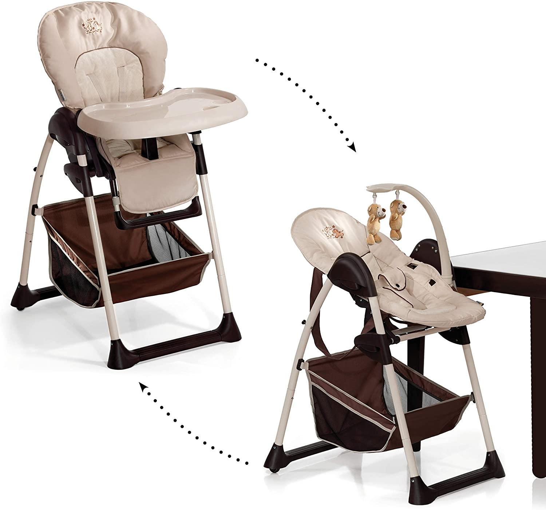 Hauck Sit N Relax - Hamaquita balancin y trona para recién nacidos, respaldo reclinable, chasis ligero, con arco móvile, mesa, ruedas, regulable en altura, plegable - beige marrón