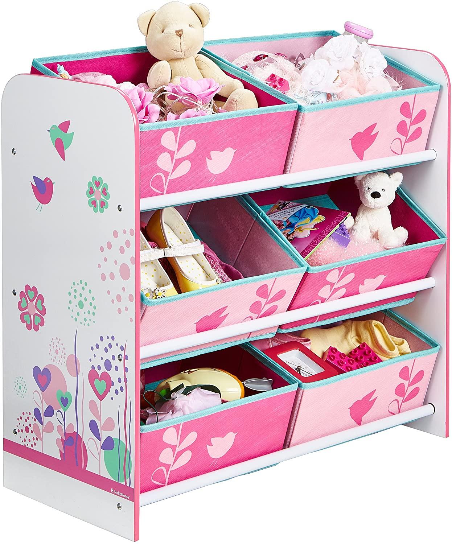 Hello Home 471FLW Unidad de Almacenamiento para niños con diseño de Flores y pájaros, Tela, Blanco y Rosa, 60.00x63.50x30.00 cm