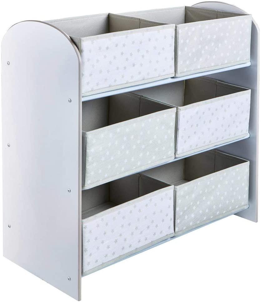 Hello Home Unidad de Almacenamiento de Juguetes con Seis Cubos para dormitorios Infantiles, Tela, Tamaño aproximado: 60 cm (Altura) x 63,5 cm (Anchura) x 30 cm (Fondo)