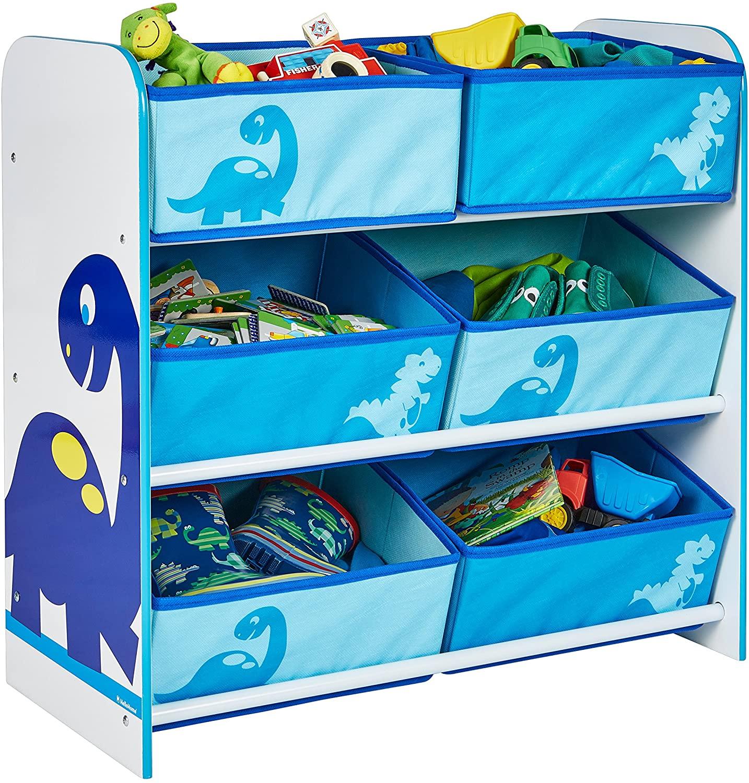 Hello Home Worlds Apart Dinosaurier Regal mit 6 Aufbewahrungskörben Unidad de Almacenamiento para niños con diseño Dinosaurio, Tela, Blanco y Azul, 60.00x63.50x30.00 cm