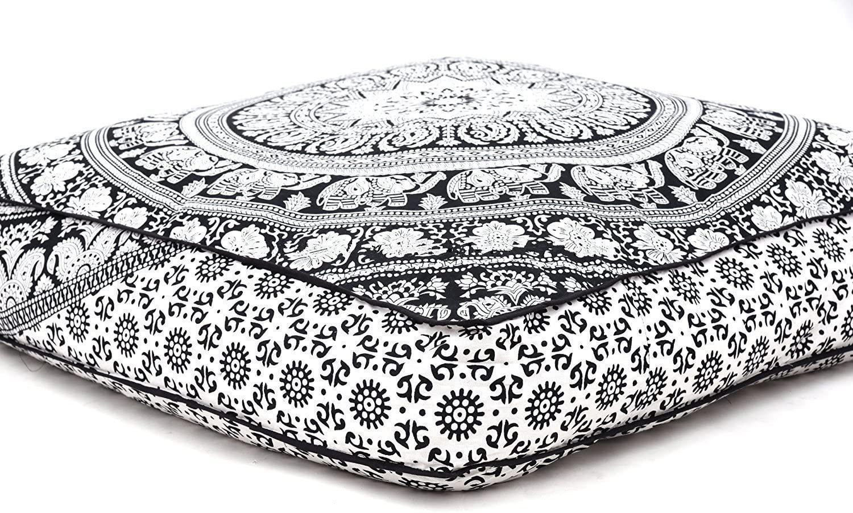 Hermosa funda de cojín cuadrada con diseño de mandala, de Aakriti, para cojín de meditación, asiento, decorativa, bohemia, india, 89cm