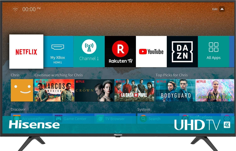 Hisense H50BE7000 - Smart TV 50' 4K Ultra HD con Alexa Integrada, 3 HDMI, 2 USB, salida óptica y de auriculares, Wifi, HDR, Dolby DTS, Procesador Quad Core, Smart TV VIDAA U 3.0 con IA [Clase de eficiencia energética A+]