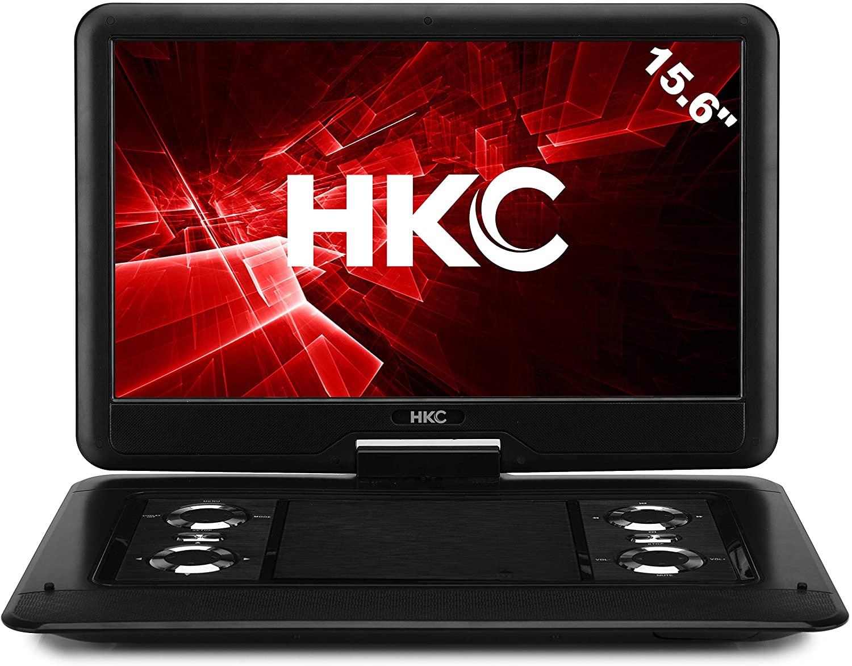 HKC Reproductor de DVD portátil D16HM01 de 15.6 Pulgadas, Pantalla giratoria, Tarjeta SD, Puerto USB con batería, Control Remoto y Cargador para automóvil, Negro