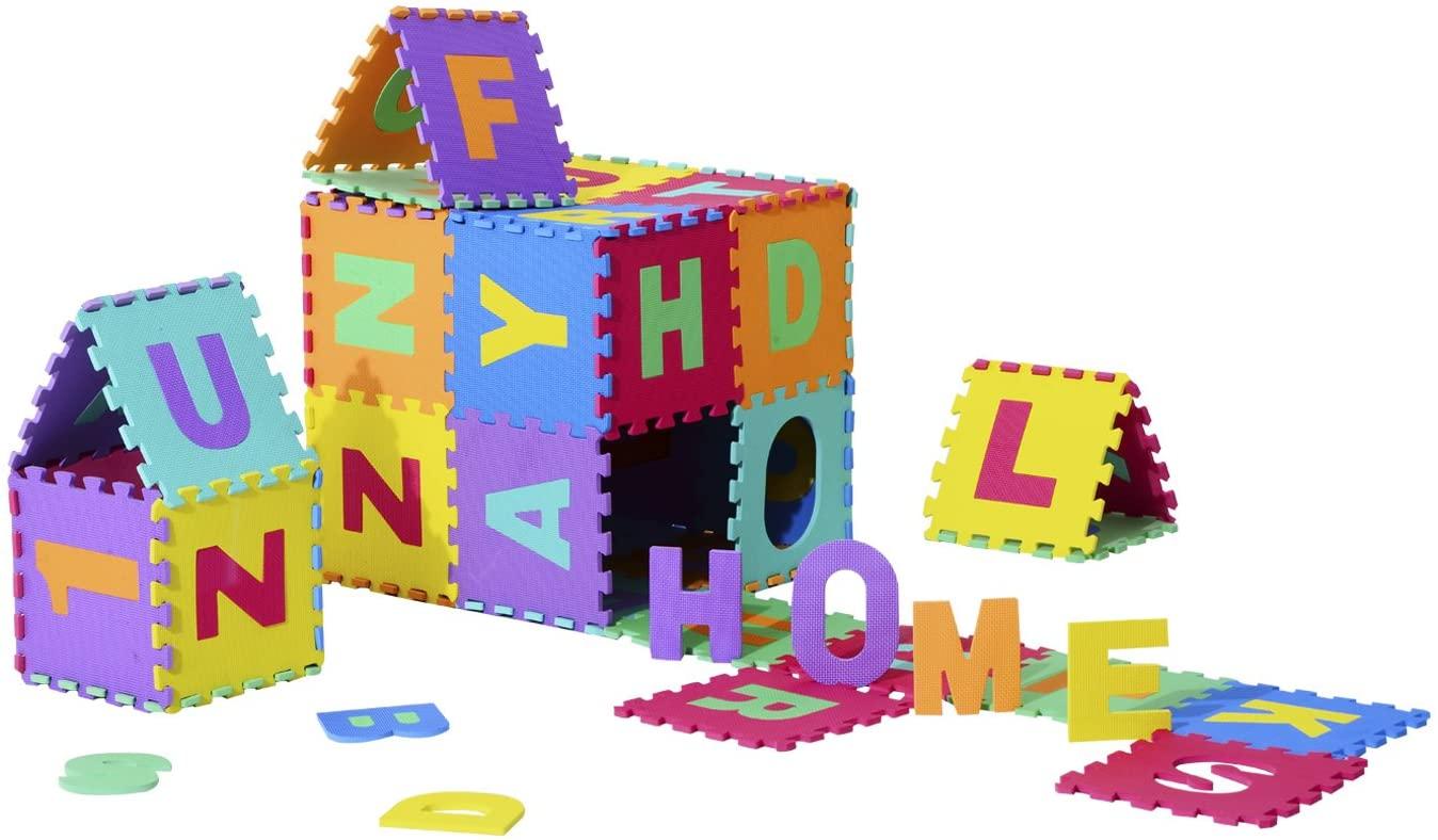HOMCOM Alfombra Puzle Colchoneta Suave Juego para Niños 36pcs 3.34㎡ Números 0-9 y 26 Letras Alfabeto Goma Espuma EVA