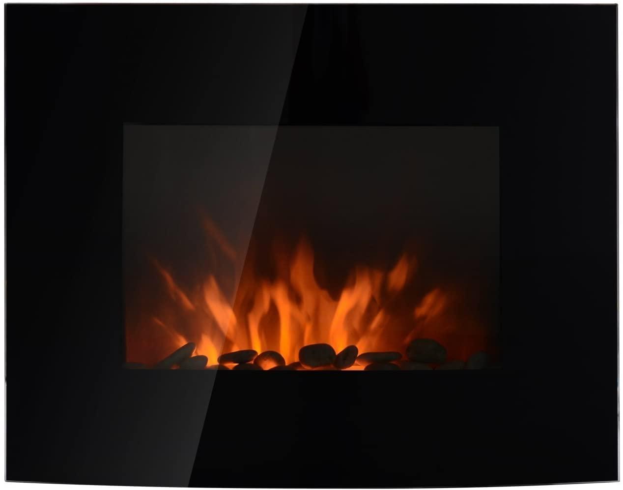 HOMCOM Chimenea Eléctrica Tipo Estufa de Pared con Efecto Llamas Atmosféricas y Luz LED de 7 Colores con Mando A Distancia 1000W/2000W 88.5x13.5x56cm