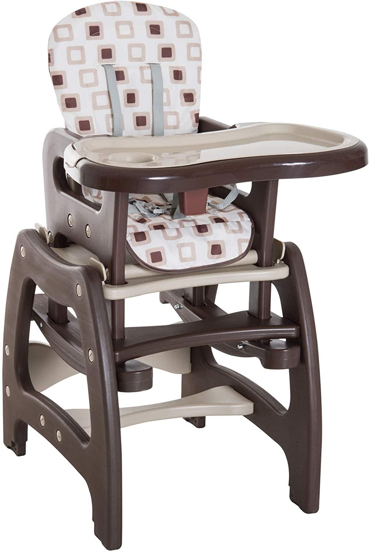 HOMCOM Trona para Bebé 3 en 1 Convertible en Silla Mercedora y Silla+Mesa con Cinturón de Seguridad (Café y crema)