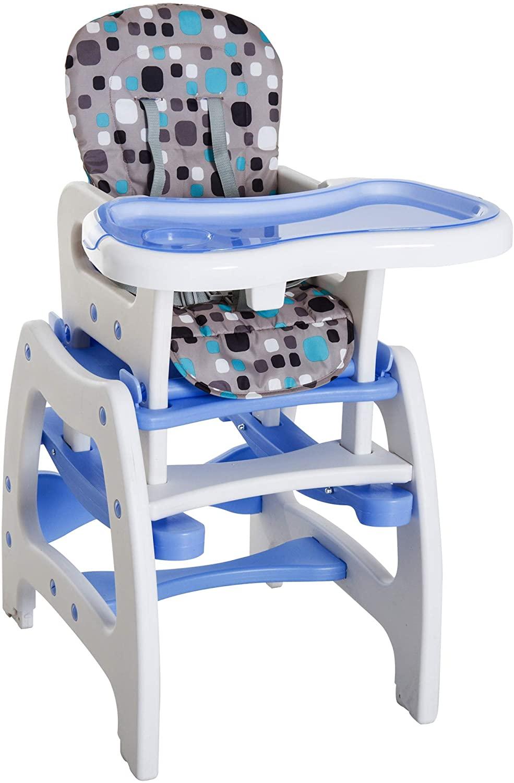 HOMCOM Trona para Bebé 3 en 1 Convertible en Silla+Mesa y Silla Mecedora con Cinturón de Seguridad (Blanco y azul)
