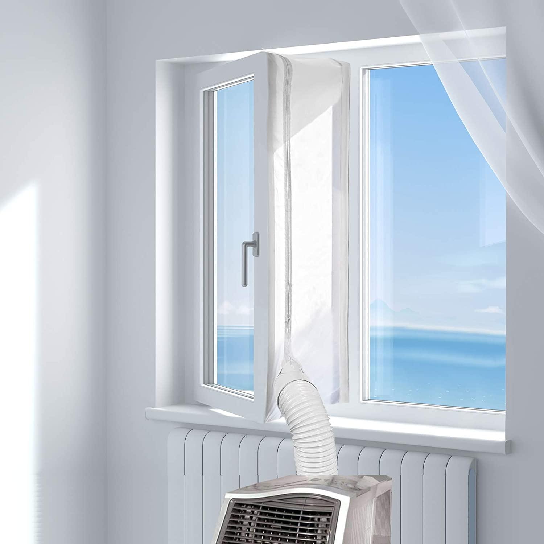 HOOMEE Cubierta Aislante de Tela para Ventanas para Aparatos De Aire Acondicionado Portátiles y Secadoras. Fácil Instalación Evita La Entrada de Mosquitos. Perímetro Máximo de 300cm