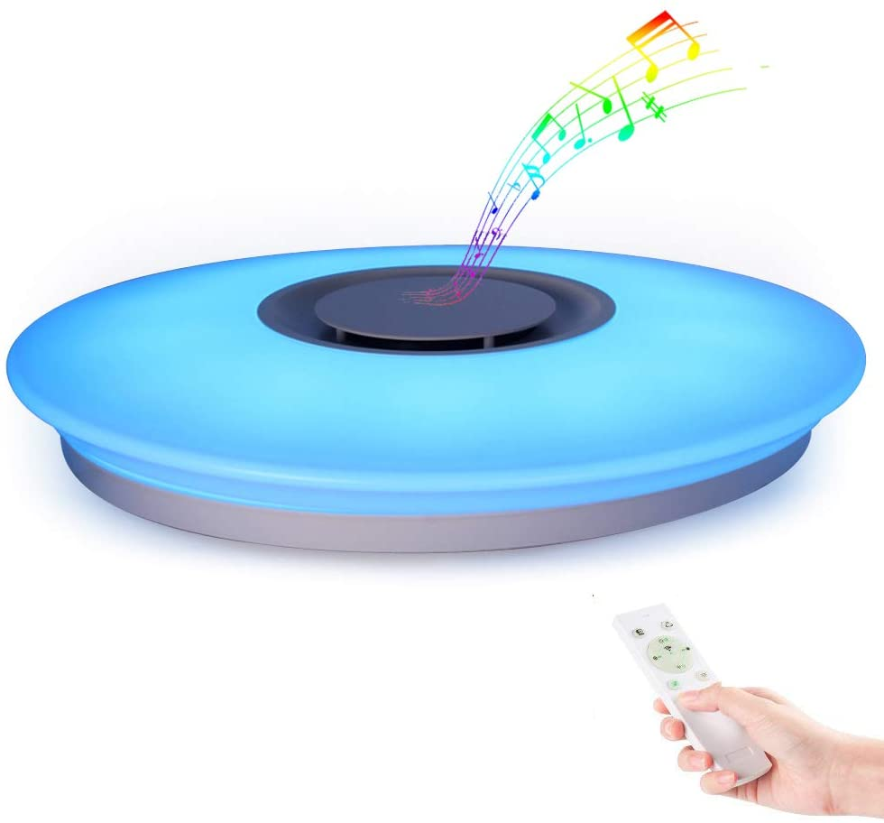 Horevo Luz de techo Plafón LED Lámpara de Techo con Altavoz Bluetooth, Certificado CE, 24W, 1800 Lúa Menes, 6500K Cool Blanco Calido Ajustable + Luz de Colores, APP + Mando a Distanci [Clase de eficiencia energética A++]