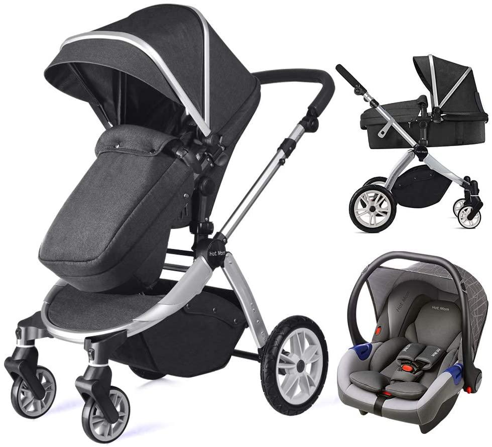 Hot Mom Multi cochecito cochecito 2 en 1 con buggy 2020 nuevo diseño, Asiento para bebé vendido por separado - Grey