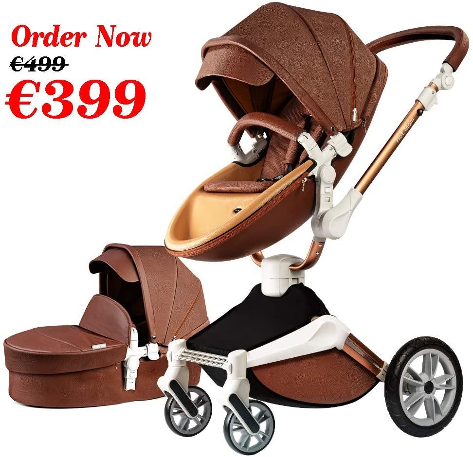 Hot Mom Silla de paseo Reversibilidad rotación multifuncional de 360 grados con buggy asiento y capazo 2020 Nueva actualización (Marrón) F023
