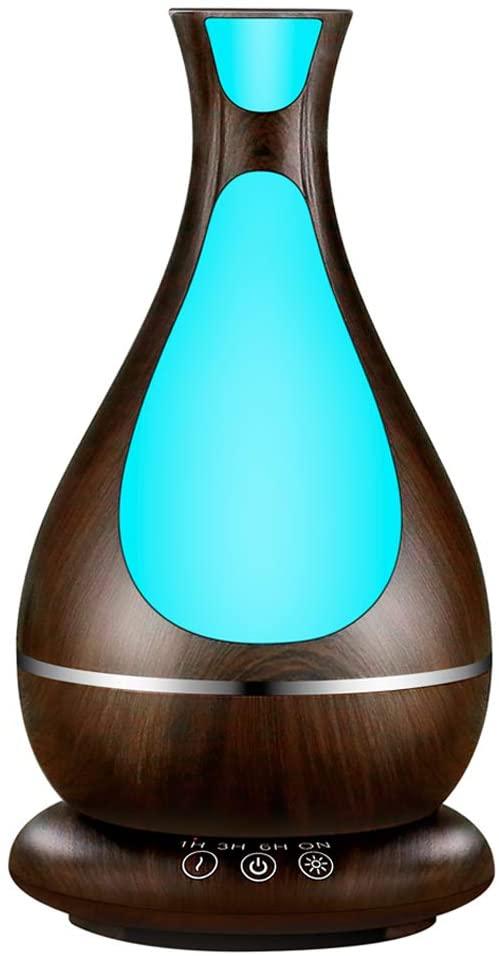 Humidificador Ultrasónico, 400ml Difusor de Aromaterapia, Difusor de Aceites Esenciales, Vaporizador,Temporizador,Purificador de Aire con LED de 7 Colores de Para Luminoterapia en el Hogar,Spa (Dark)