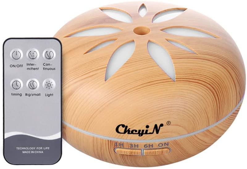 Humidificador Ultrasónico 550ml,Aceites Esenciales Difusor de Aromaterapia Control Remoto -7 Colores+4 Temporizador-Para la Habitación del Bebé/SPA/Yoga/Masaje/Oficina,Etc