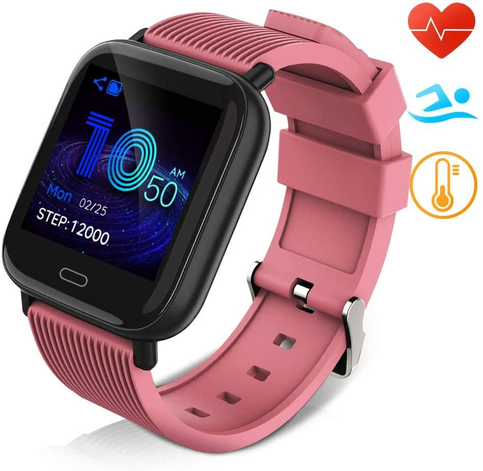 Huyeta Reloj Inteligente Impermeable IP67 Smartwatch Pantalla Táctil Completa Pulsera de Actividad Mujer Hombre Niño Reloj Deportivo a Prueba de Podómetro Monitor de Sueño para iOS Android (Rosado)