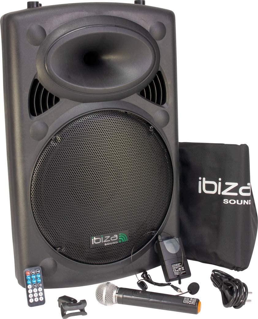 """Ibiza Sound PORT15VHF-BT Sistema de sonido portátil y autónomo de 15""""/38 cm, 800 W"""
