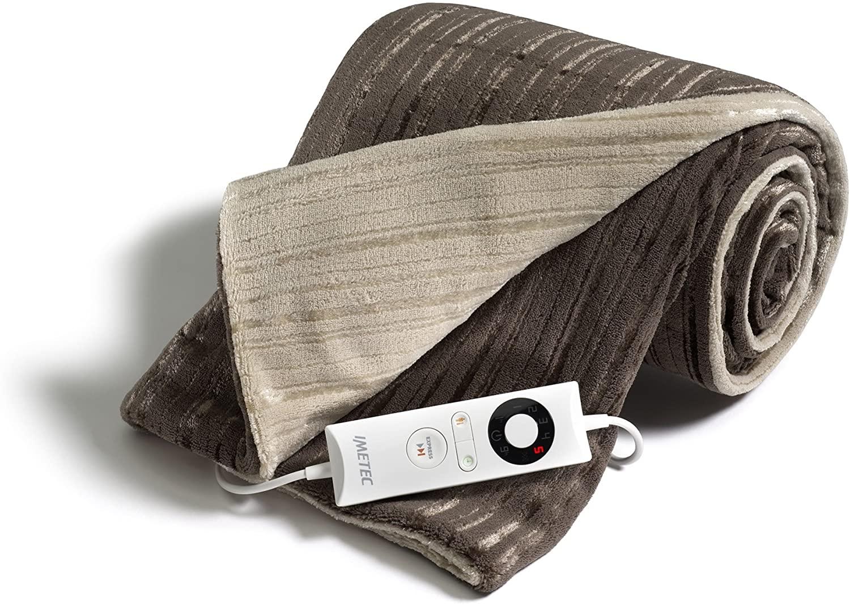 Imetec Intellisense manta eléctrica matrimonial de 140 x 180 cm, manta eléctrica con tecnología Intellisense, microfibra suave bicolor reversible, puede lavarse en la lavadora