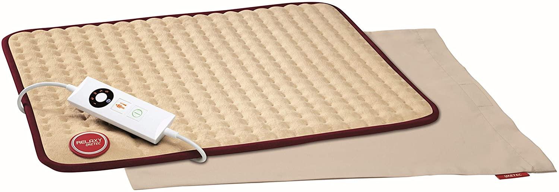 Imetec Relaxy IntelliSense HP-02 - Almohadilla térmica, 15 W, máximo 110 W, espalda, hombros, barriga y piernas, color beige y burdeos