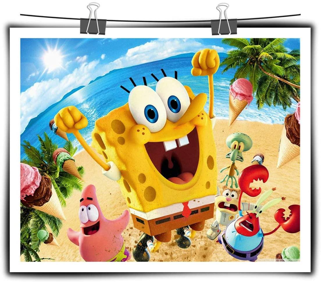Impresión en HD Decoración de póster animada Bob Esponja Cuadros Dormitorio Dormitorio infantil Pintura mural Lienzo 70x90cm (28x36in) Enmarcado