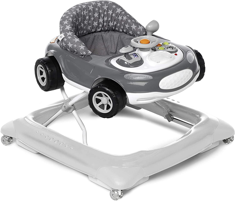 Jané 6493 T01 Auto Sport - Andador Primeros Pasos, de 6 Meses hasta 12 kg., Asiento Regulable, Bandeja Actividades, Apto Parquet, Ruedas Silenciosas