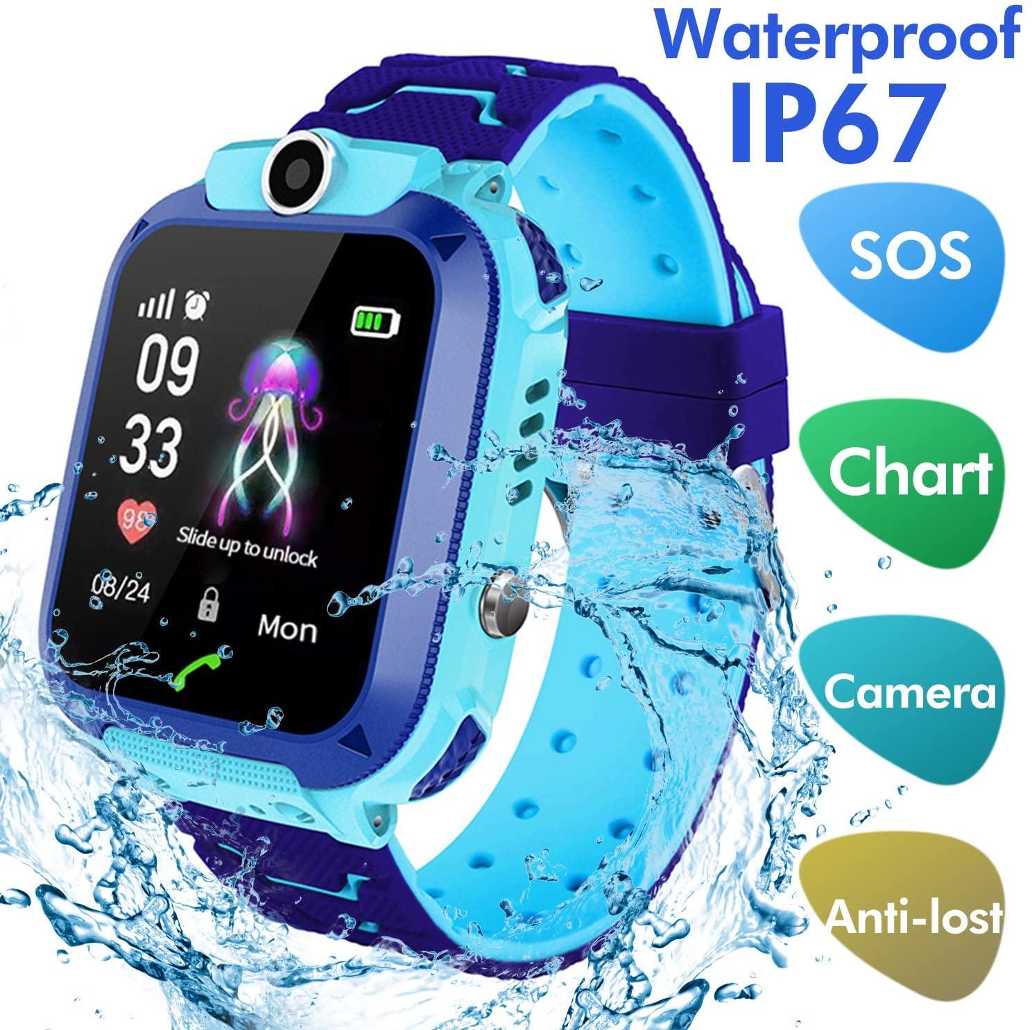 Jaybest Smartwatch Niños - Inteligente Relojes Phone con cámara SOS Ranura para Tarjeta de Juego Juego de Reloj Inteligente Compatible con iOS y Android(Azul púrpura)